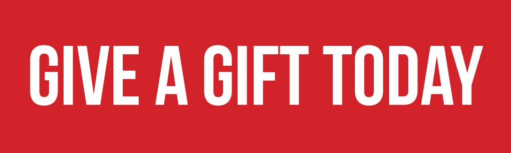 "Red background with white words ""Give a gift today"""