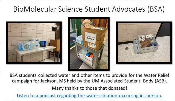 3 photos showing donated items collected for the water relief campaign in Jackson, MS