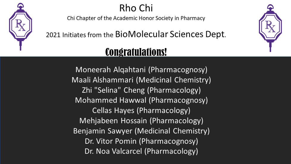 Info graphic announcing Rho Chi initiates