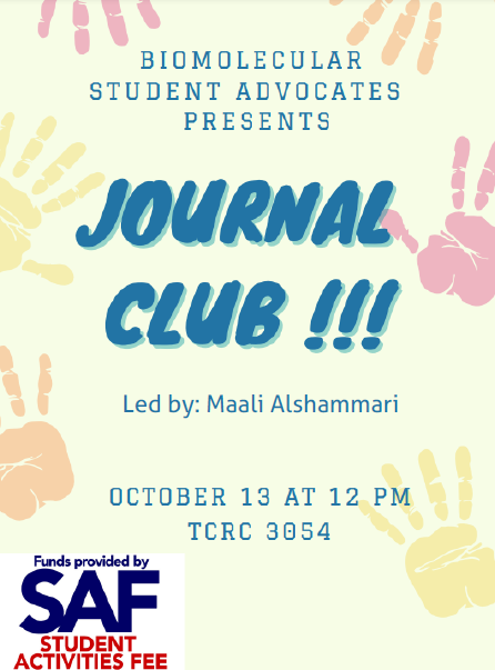 Anouncement for BSA journal club event on October 13th at Noon.