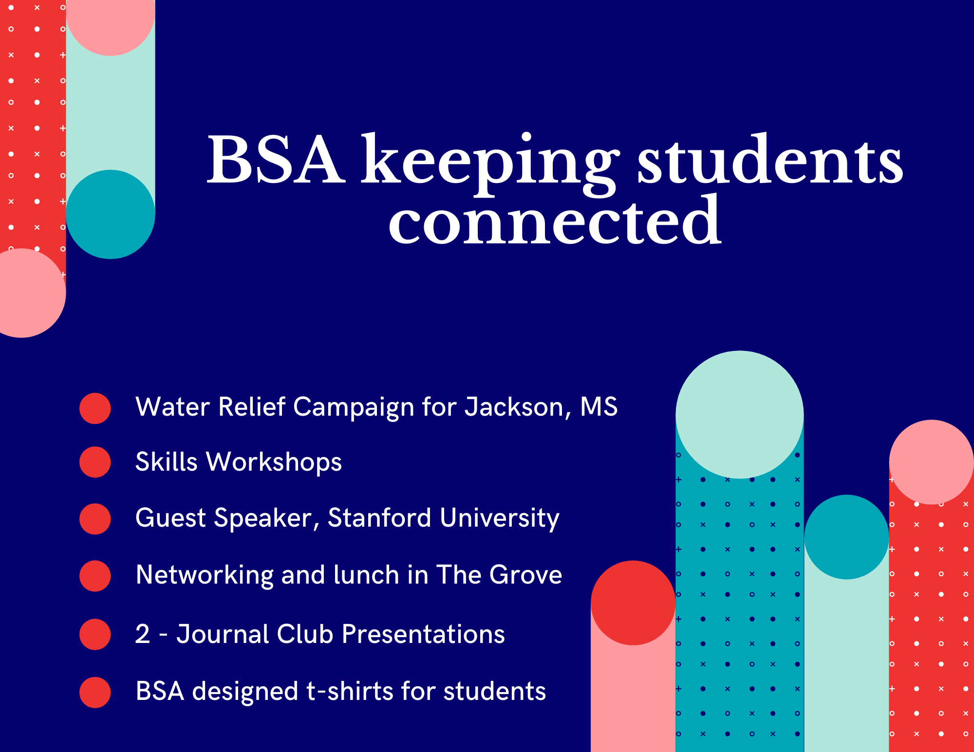 An info graphic outlining events the student organization has held over the past year