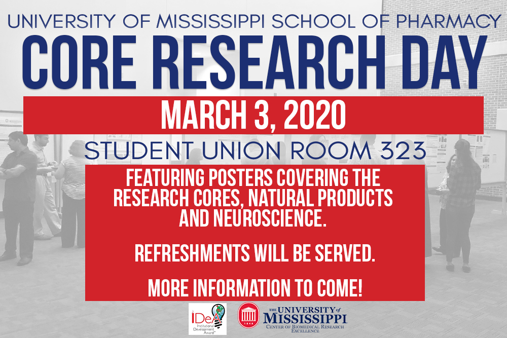 Text graphic with details for Core Research Day including March 3 in Student Union Room 323