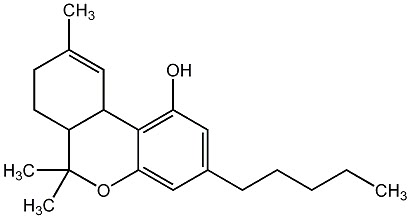 Chemical structure of THC