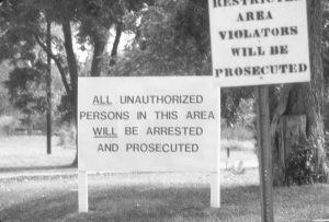 Signs at the marijuana garden