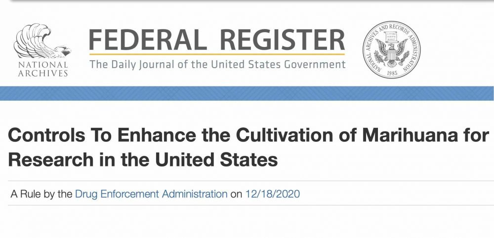 """Headline that reads """"Controls to Enhance the Cultivation of Marijuana for Research in the United States"""""""