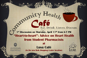 The first Community Health Cafe will be held April 11.