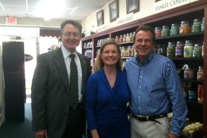 Pharmacy Dean David D. Allen (left) made his first practice site visit at Wendy and John McKinney's Moss Point drugstore. The McKinneys are recipients of the 2013 Distinguished Service Award.