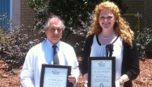 Norman C. Nelson Order of Teaching Excellence inductees Buddy Ogletree and Laurie Warrington