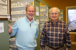 Steve and Joe Oliver have been working together at Oliver Drug Store for 35 years. Photo by Erin Garrett.