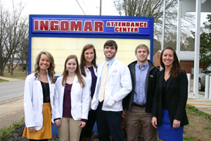 UM pharmacy students traveled to Ingomar Attendance Center to speak about diabetes risk and prevention. From left to right: Ashley Hale, Christa Curtis, Riley Krus, Gabe Hinojosa, 2012 alumnus Christopher Davis and Emily Carrell. Photo by Erin Garrett.