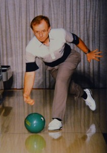 Hufford competes in a national bowling tournament in 1994.