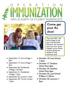 Operation Immunization Flyer 2016. Dates listed in text below.