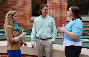 Admissions Counselors Megan Miller and Lauren Rowlett with a student.