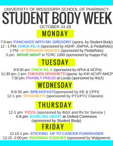 University of Mississippi School of Pharmacy Student Body Week 2016 schedule.