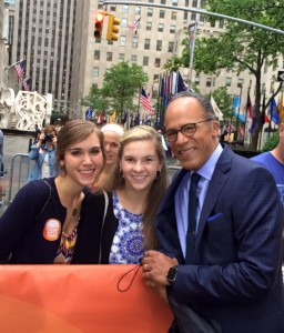 Kelsey Stephens and Rachel Lowe with Lester Holt