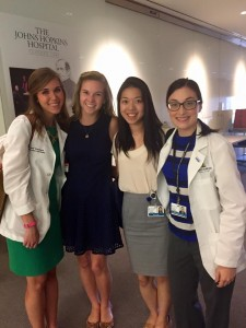 Kelsey Stephens and Rachel Lowe with fellow interns.
