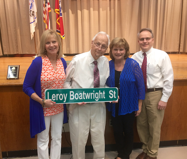 Leroy Boatwright and his children at the street renaming ceremony.