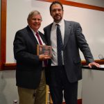 John Rimoldi presents Jimmie Valentine with award