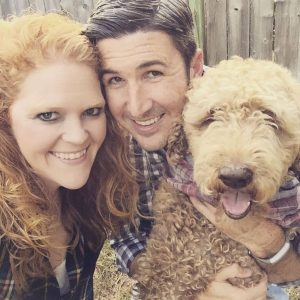 Laurie Fleming and Josh Fleming with dog