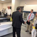 Oxford's Mayor Tannehill tours the facility.