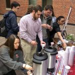 Students getting hot chocolate