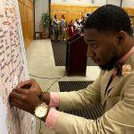 Graduate pins his job location on Mississippi map.