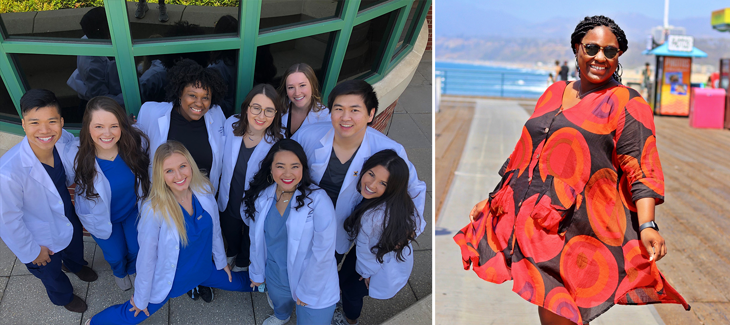 Side-by-side pictures of Alexcia with a group of pharmacy students and one of her in a dress on ocean boardwalk