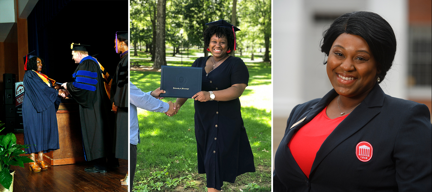 Three separate pictures of Alexcia receiving her diplomas and head shot in Columns member blazer