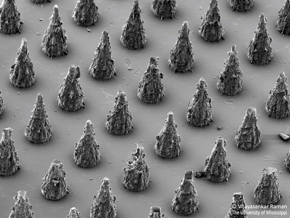 An array of soluble polymer microneedles