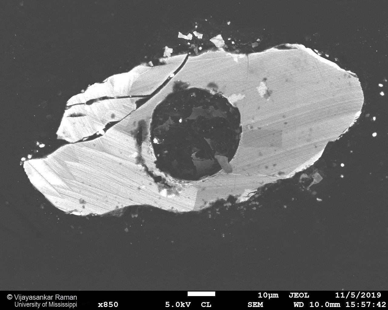 Cathodoluminescence image of a zircon grain