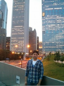 Nilesh seeing the city - Pictured here at the Downtown Towers in Oak Brook, Illinois