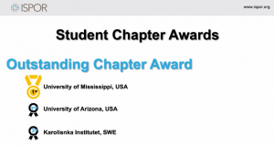 """Text graphic """"Student Chapter Awards; Outstanding Chapter Award; 1st University of Mississippi, USA"""""""