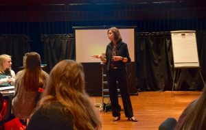 Guest speaker Mandi Stanley taught student pharmacists how to present themselves while speaking in public.