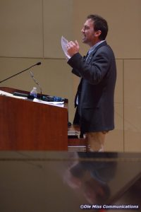 """Dr. John Rimoldi of the University of Mississippi School of Pharmacy delivers the """"Last Lecture"""" which represents the last lecture of the academic year."""