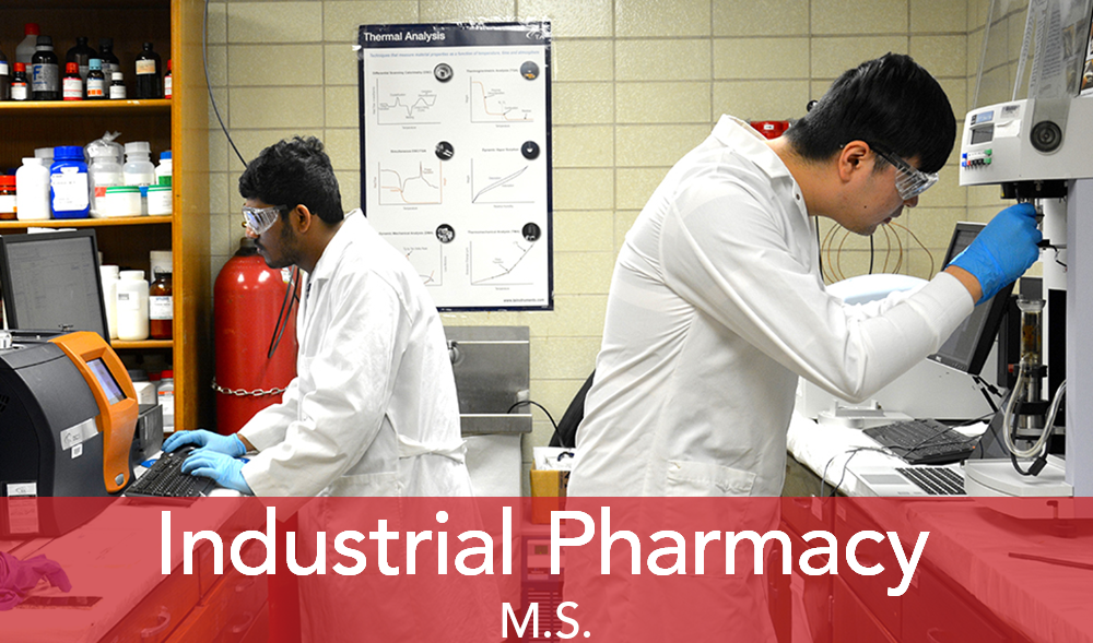 """Two male scientists work on lab equipment. Text """"Industrial Pharmacy"""""""