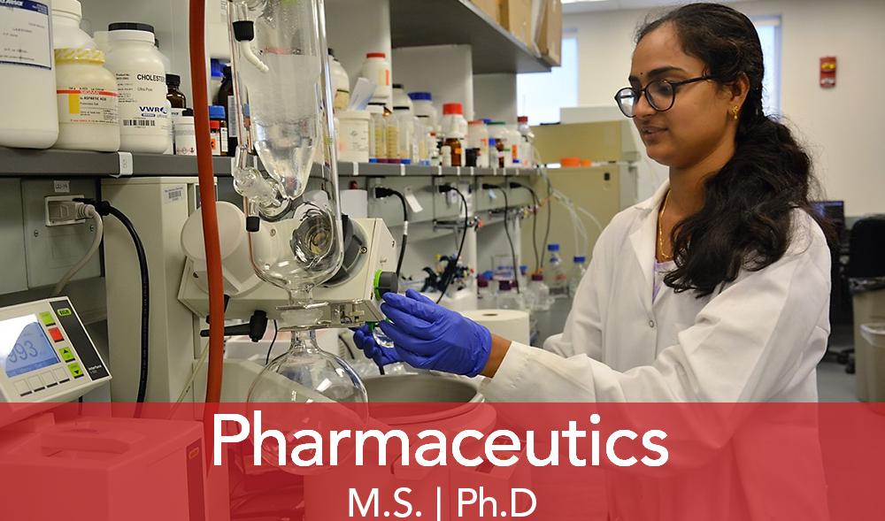"A female scientist works on lab equipment. Text ""Pharmaceutics"""