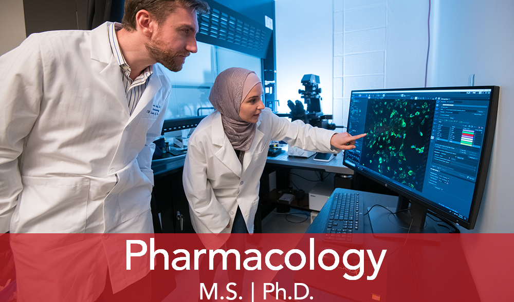 """A male professor watches as a female student discusses lab results on computer screen. Text """"Pharmacology"""""""