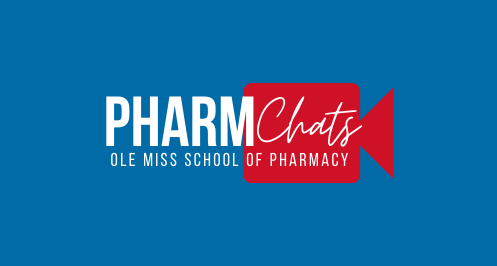 """Blue background with red video camera. Text """"PharmChats"""""""