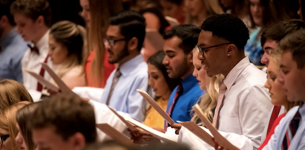 Students recite the pledge of professionalism